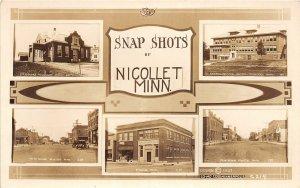 F80/ Nicollet Minnesota RPPC Postcard c1910 5View Schools Main Bank