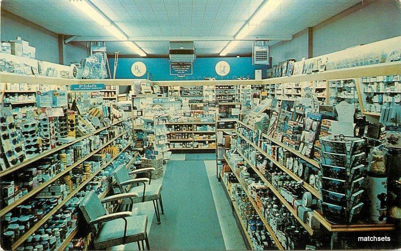 1950s Poughkeepsie New York Mid Town Pharmacy interior Dexter postcard 7869
