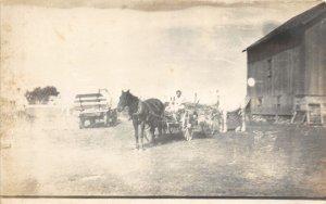 F82/ Occupational RPPC Postcard c1910 Famer Horse Hay Wagon 7