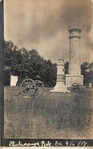 Chickamauga Park GA 1863 Civil War Battle Monuments Real Photo Postcard