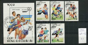 265096 VIETNAM 1992 year used stamps set+S/S soccer UEFA