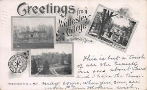 Greetings from Wellesley College, Wellesley, MA., Early Postcard, Used in 1904