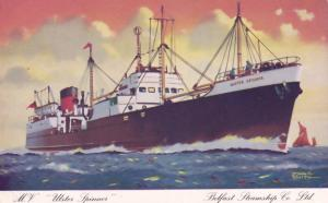 MV Ulster Spinner Ferry Ship Belfast Steamship Co Old Postcard