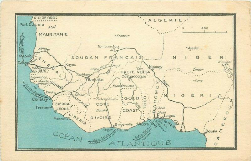 French West Africa early map card / HipPostcard on map of ethiopia in french, map of african countries, map of france in french, us map in french, map of european countries in french, map colonial africa, map of madagascar in french, map of belgium in french, map of switzerland in french, map of casablanca in french, south america map in french, map of french speaking countries, map of caribbean in french, nutrition label in french, map of world in french, map of north america in french, map of canada in french, map of seychelles in french, map of central america in french, united states map in french,