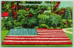 Hartford Connecticut~Elizabeth Park~American Floral Flag~c1950 Patriotic Linen