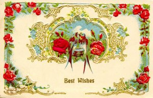Greeting - Best Wishes        (embossed, gold)