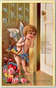 Vintage Winsch VALENTINE'S DAY Postcard Cupid Angel w/ Bow & Arrows at Door 1909