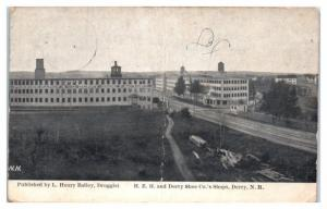 1912 H.E.H and Derry Shoe Co.'s Shops, Derry, NH Postcard