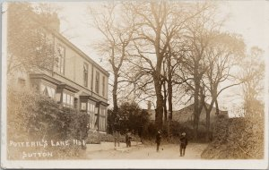 Potterill Lane Sutton Yorkshire England 3 Boys Real Photo Postcard F22 *as is