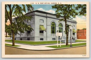 Camden South Carolina~US Post Office~Road Sign in Front~Building Behind~1940s