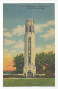 MI Detroit Belle Isle Nancy Browns Peace Carillon 1943 Vtg Linen Postcard