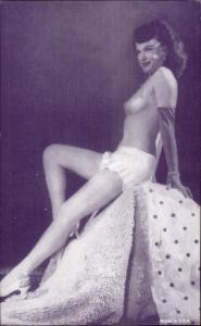 Sexy Burlesque Woman Semi-Nude Arcade Exhibit Card - Purple Tint #3