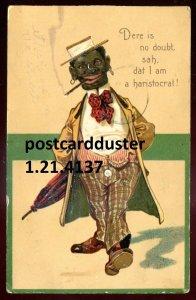 4137 - BLACK AMERICANA Postcard 1909 Embossed Humor Smoking Man