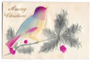 Merry Christmas Applied Felt Bird Add-On Embossed Holly Novelty Postcard