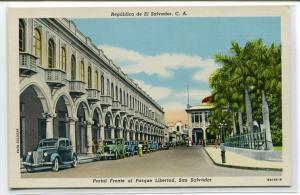 Portal Frente al Parque Libertad San Salvador El Salvador linen postcard