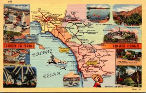 California Map Of Southern California's Romantic Highways Curteich