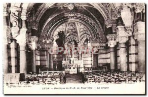 Old Postcard Lyon Basilica of Our Lady of Fourviere crypt