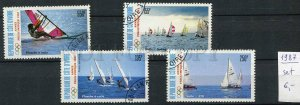 265133 Cote d'Ivoire 1987 year used stamps set YACHT SPORT