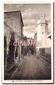 Old Postcard Algeria Blida - Gueydon Street and Mosque