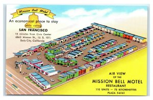 Postcard Air View of the Mission Bell Motel, Daly City CA  B53