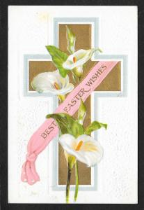 Best Easter Wishes Cross & Lilies Used c1909