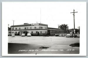 Monticello Iowa~Energy Mfg Co~Hydraulic Cylinder Farm Factory~1950s Cars~RPPC