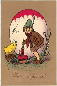 LP57 Easter  Postcard Painting Egg chick Paques Meissner Buch
