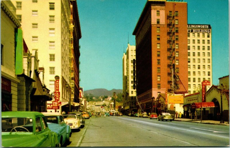 Vtg Chrome Postcard Hollywood California CA Hollywood & Vine Street View w Cars