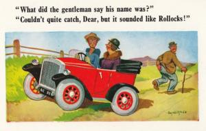 Rollocks Rude Tramp Swearing at Lovers Classic Car Field Comic Humour Postcard