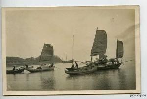 Tonkin China Chinese Sampans RPPC Postcard