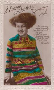 Child With Fashion Greek Japanese Dress Happy Birthday Real Photo Old Postcard