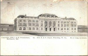RARE - B. & O. Railroad Depot WHEELING WV  - Postcard - 1906