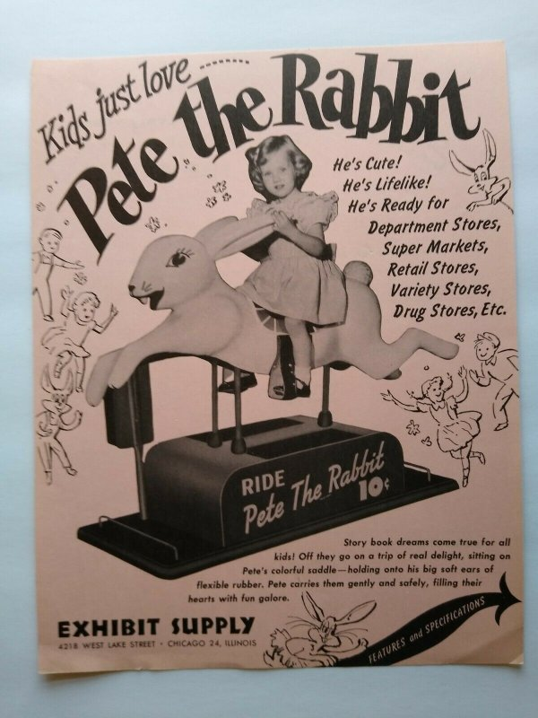 Exhibit Pete The Rabbit Arcade FLYER Original Kiddie Amusement Ride 1952 Rare