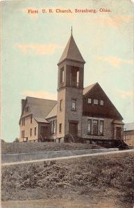 E7/ Strasburg Ohio Postcard 1913 First U.B. Church Building