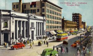 Douglas Street, Busy, Victoria, British Columbia, Canada, PU-1946