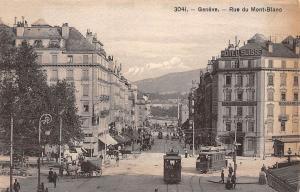 Switzerland Geneve Rue du Mont Blanc Street Tram Cable Car Hotel Suisse