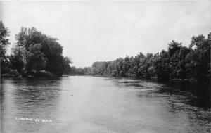 Constantine Michigan~River Scene~Trees Reflected in Water~c1910 RPPC
