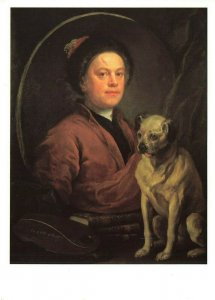 Dog Art Postcard, The Painter and his Pug (1745) by William Hogarth KZ0
