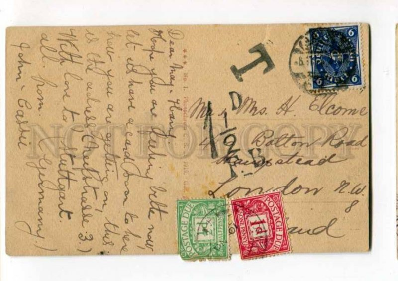 289562 GERMANY MAINZ Rheinansicht ships RPPC to ENGLAND To Pay stamps Due