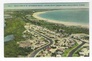 1940's Aerial View of St. Petersburg Beach, Florida Linen Postcard