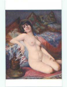 Unused Pre-Linen risque foreign NUDE FRENCH GIRL POSING BESIDE CUSHIONS k3853