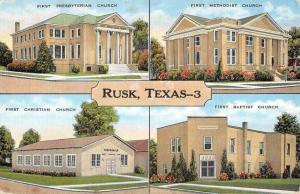 Rusk Texas First Churches Multiview Linen Antique Postcard K29402