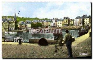 Modern Postcard Honfleur picturesque Vieux Bassin Painter