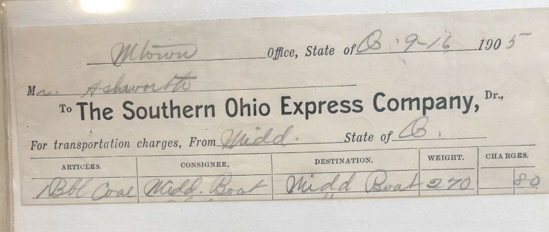 1905 Southern Express Co. - Order Form - Invoice  Antique