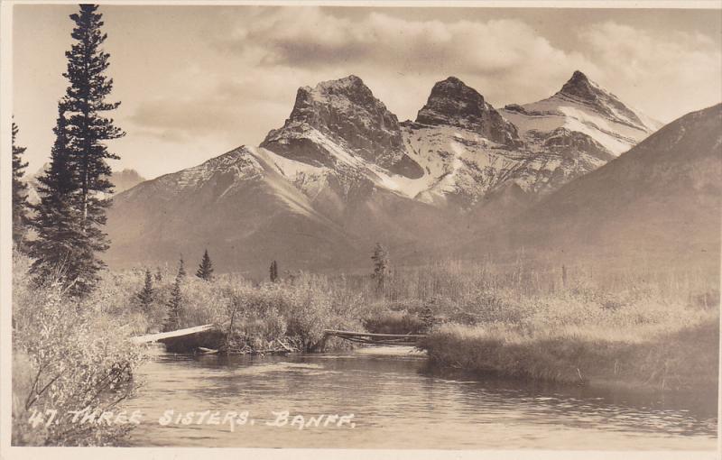 RP: Three Sisters Mountains , BANFF , Alberta , Canada , 1920s ; Byron Harmon...