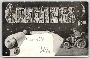 Cassville Wisconsin~Large Letter Greetings~Ladies~Vintage Auto~Man in Moon~1908
