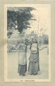 Dancing asian girls vintage postcard