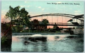 Iola, Kansas Postcard Dam Bridge and Old Mill Neosho River Scene c1910s Unused