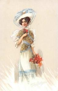Vintage Fashion Dress, Fancy Hat, Flowers, Lady signed Bertran, Postcard