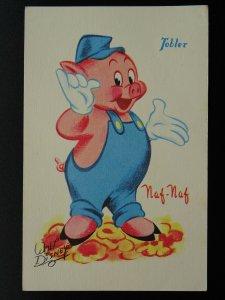 French Walt Disney Character NAF NAF c1950s Postcard by Tobler Chocolats